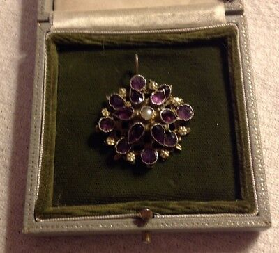 Antique Vintage Amethyst Pearl And Gold Pendant