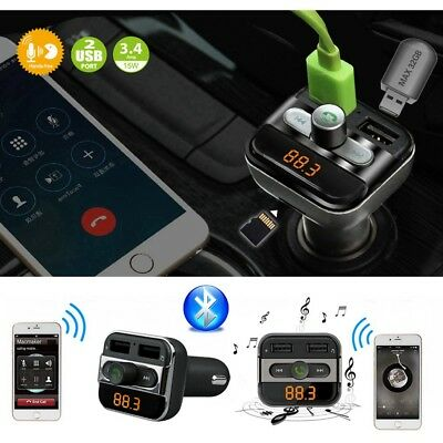 Wireless Bluetooth Car Kit FM Transmitter Dual USB Charger Audio MP3 Player