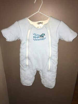 Baby Merlin's Magic Sleepsuit Large light BLUE 6-9months preowned sleep sack