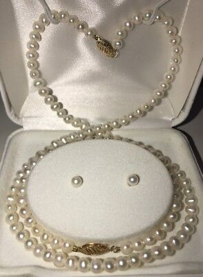 VINTAGE ESTATE 14K GOLD CULTURED PEARL JEWELRY SET OF 4 PIECES Bridal Gift