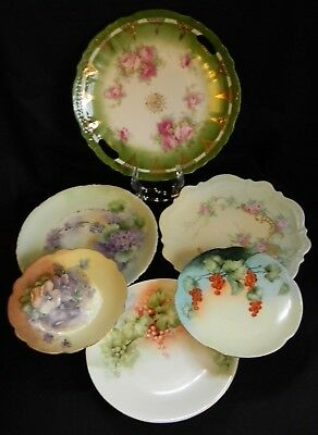 "Antique, Hand Painted Plates, Various Artists, 6-9"", Six Total, French & German"