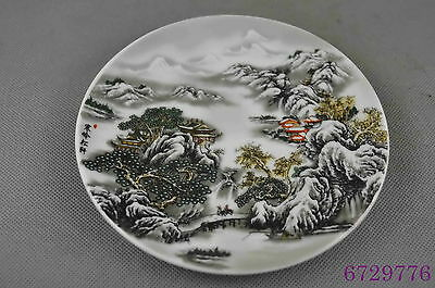 Collectable Handwork Porcelain Paint Snow-Covered Landscape Ancient Lucky Plates