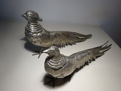 "Silver plate ""Cock and Hen Pheasants"""