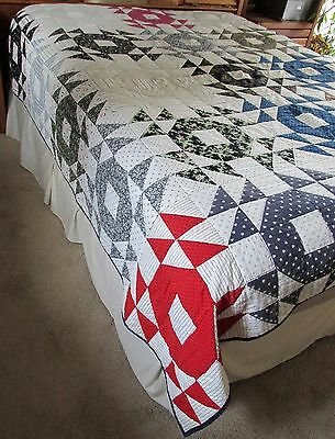 Antique Big O Rustic Cabin Cotton Calico,Stripes,Floral, Moon & Stars Bed Quilt