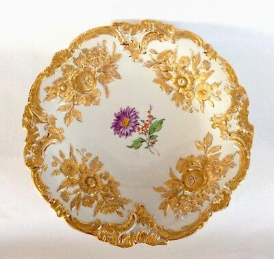 ANTIQUE VERY LARGE MEISSEN  GILDED FLOWER GOLD GILT PLATE 28.5cm 11.2""