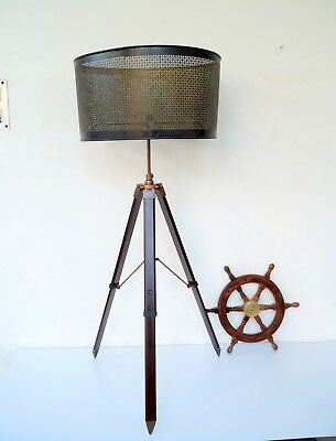 Vintage Nautical Antique Adjustable Tripod Shade Floor Lamp Stand Bedroom Decor
