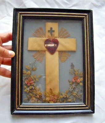 Old RELIQUARY Agnus Dei Lamb of God Blessed Heart on the Cross Relic Wood Frame