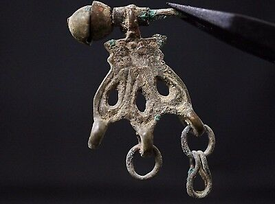 Ancient Viking Bronze Amulet. Rare Norse Pendant with Chain, circa 950-1000 AD