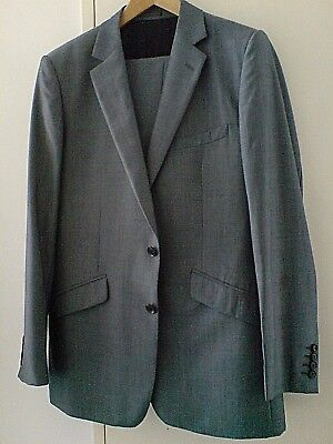 Reiss Grey Single Breasted Slim Fit Mohair Suit Uk 40 R