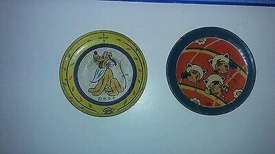 2 Vintage tin tea plates donald duck