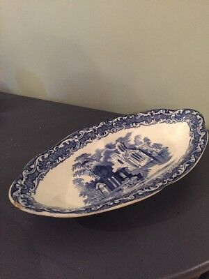 Antique Abbey Blue And White Dish