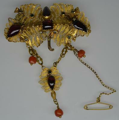 Superb Late 19th Century Indian Fine Gold Ruby Emerald & Coral Brooch Pendant