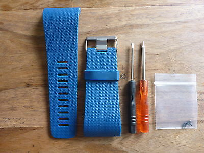 Brand new Fitbit Surge replacement strap Blue (Large)with buckle+tools UK seller