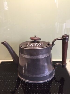 Antique Victorian Old Sheffield silver plate  teapot, teak handle and filial