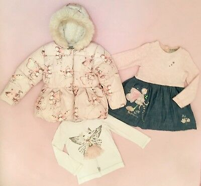 NEXT Fairy Range Girls Age 3-4 Years Bundle Coat/Jacket Dress & Top
