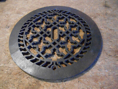Ornate Antique Cast Iron Register Grate Heating Cover Round Architectural