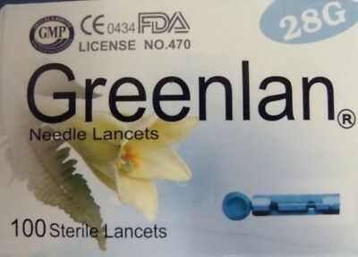 Greenlan 28g Sterile Finger Pricking Lancets - NEW - pack of 100 - Sugar Monitor