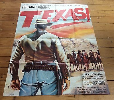 Vintage French Clint Eastwood Style Western Film Poster Texas By Giuliano Gemma