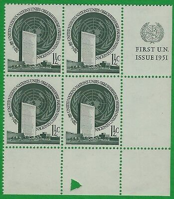 United Nations 1951 Scott #2  M14 L/R with Triangle Cutout  MNH !!!