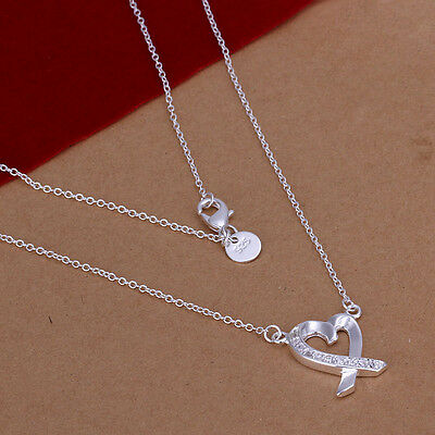 New Sexy Women Silver Jewellery 925Silver Necklace Heart Pendant Lady Chain