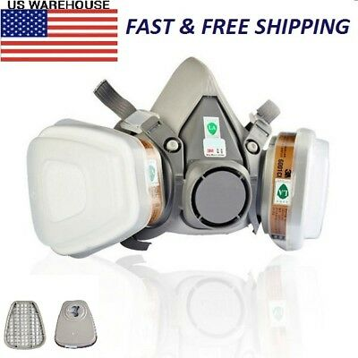 For 3M 6200 Dual-Canister Gas Mask Chemical Filter Protection Respirator Gray