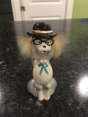 Vintage Skinny Poodle with Hair, hat and glasses ~ Smart dog figurine Japan!
