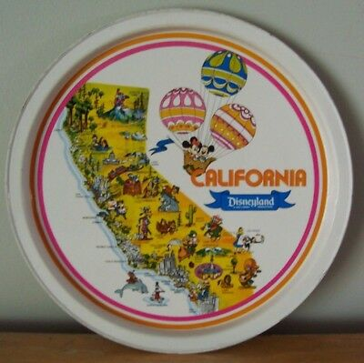 1970's DISNEYLAND TIN TRAY - MICKEY AND MINNIE IN BALLOON OVER MAP OF CALIFORNIA