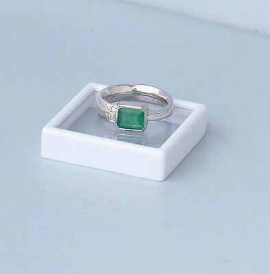 "Emerald ring White gold ""Classic"" Green -Diamant- Fashion Colombia- II."