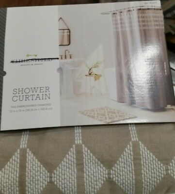Threshold Tan White Chain Stitch Embroidery Shower Curtain