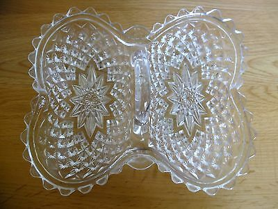 Vintage Cut Glass Condiments Serving Dish with handle