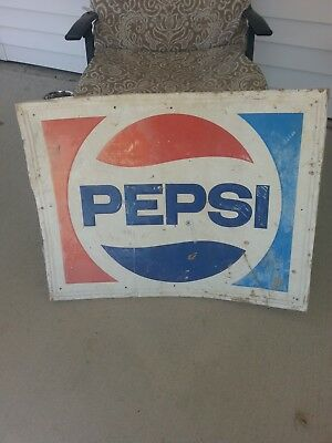 LARGE VINTAGE PEPSI  BOTTLE CAP SIGN 23 1/2 x 30  METAL TIN NOT PORCELAIN