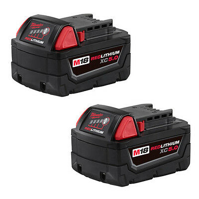 Milwaukee 48-11-1852 M18 REDLITHIUM XC5.0 Extended Capacity Battery - Two Pack