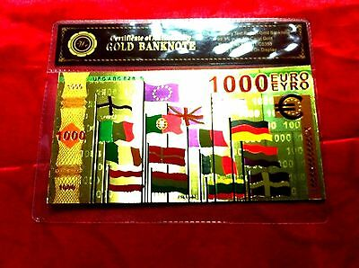 Europe 1000 Euro 24Kt Color Gold Banknote Rare Collectable Bank Note