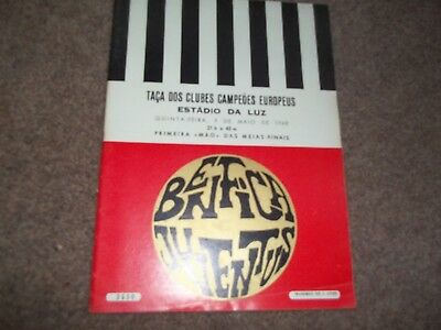 1968 European Cup Semi Final Benfica V Juventus 9Th May 1968 *excellent*