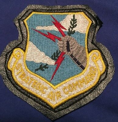Air Force SAC STRATEGIC AIR COMMAND Leather border Velcro back SCHOULDER PATCH