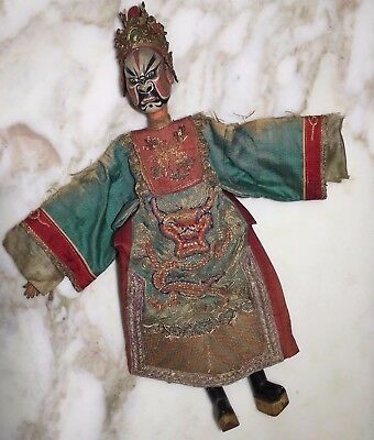 Antique Vtg Chinese Opera Doll Embroidered Dress Costume Painted Mask SIGNED
