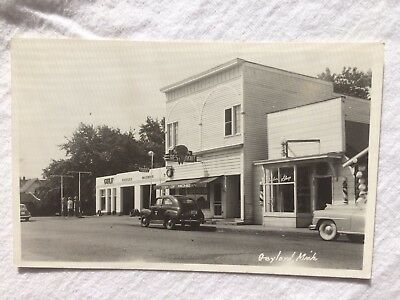 RPPC Gaylord Michigan Gulf Oil Gas Station Top O Michigan Restaurant 1940's Sign
