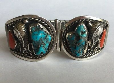 Turquoise & Coral Sterling Silver Watch Band Tips Signed Ak