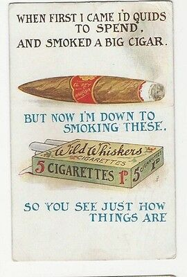 Comic postcard Wild Whiskers cigarette packet