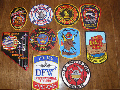 Lot Of 10 Fire Dept. Patches!! Very Nice!!!
