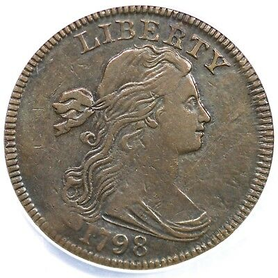 1798 s-164 R4 ANACS VF30 Details Draped Bust Large Cent Coin 1c