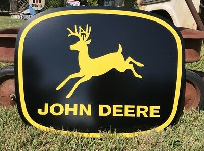 Antique Vintage Old Style John Deere Black And Yellow Sign