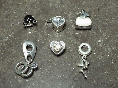 Michael HIll/Chamilia Charm Lot Silver +10K on Heart Euro Rope Bracelet Style