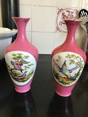 A Pair Of Sevres  Style Porcelain Vases Exotic Bird Decoration On Pink Ground