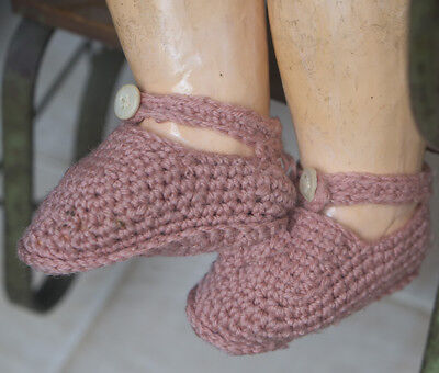Antique Original Knitted shoes for french or german doll