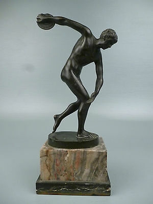 Antique Grand Tour Bronze Sculpture Disc Thrower - Athlete After Roman Greek BR