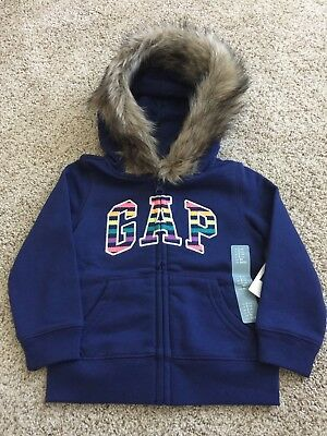 New Baby Gap Girls Size 2 Blue Faux Fur Hoodie Jacket NWT