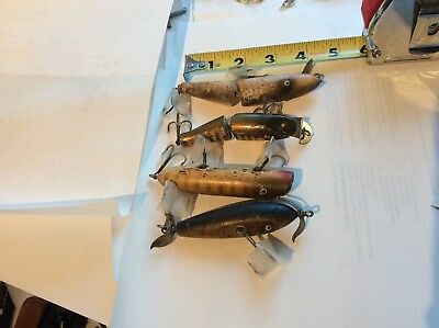 Vintage Wood Jointed Lures - Various Brands. Lot Of 4