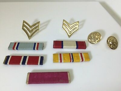 LOT OF VINTAGE US Military Medal Ribbons PLUS TWO BUTTONS / PINS