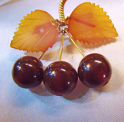 Fun! Russian natural carved Baltic & Cherry Amber Cherries themed brooch